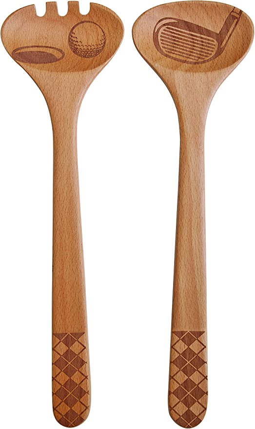 Butterfly Design Laser Etched Fork and Spoon Talisman Designs  Beechwood Salad Serving Set 12-inches Long