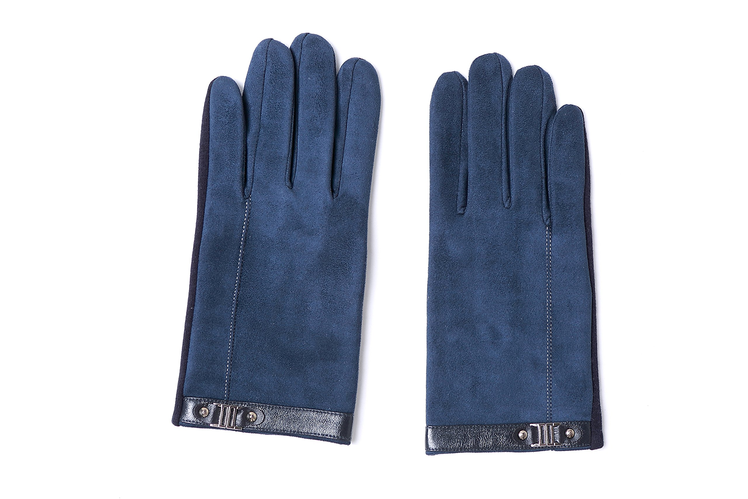 YISEVEN Men's Suede Chamois Leather Gloves Touchscreen Flat Design Plain Lined Luxury Soft Hand Warm Fur Heated Lining for Winter Spring Stylish Dress Work Xmas Gift and Motorcycle Driving, Blue M