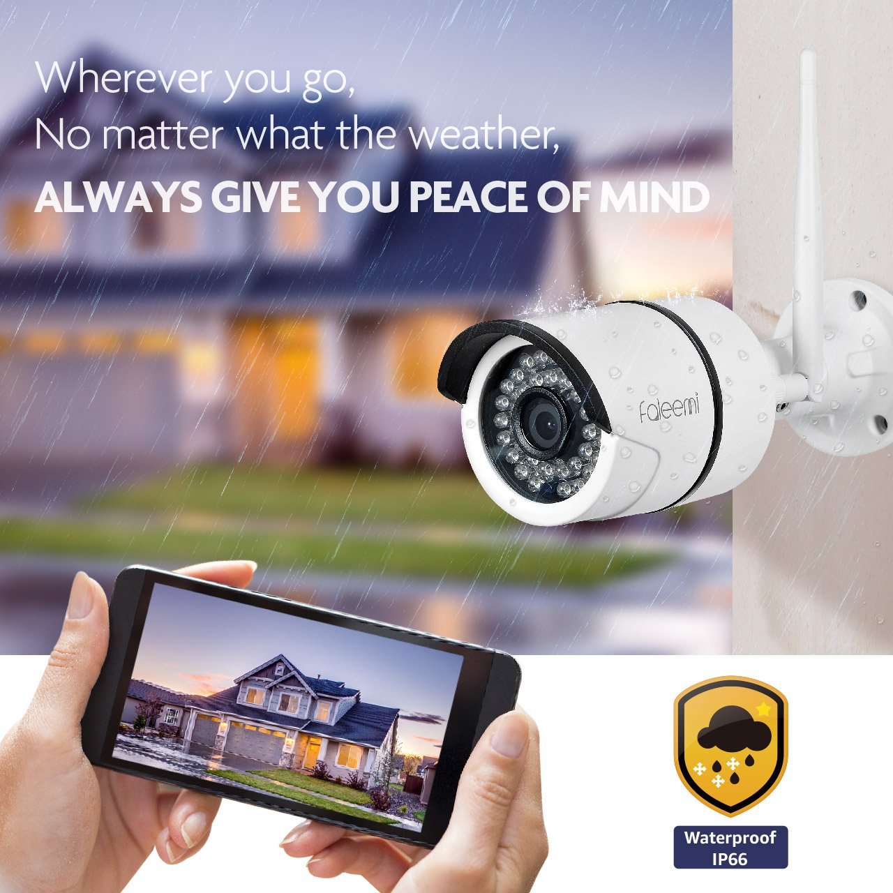 1080P Waterproof Surveillance IP Camera Faleemi Outdoor//Indoor Full HD WiFi Security Camera Night Vision FSC860 Bullet Camera for Your Smartphone with Motion Detection