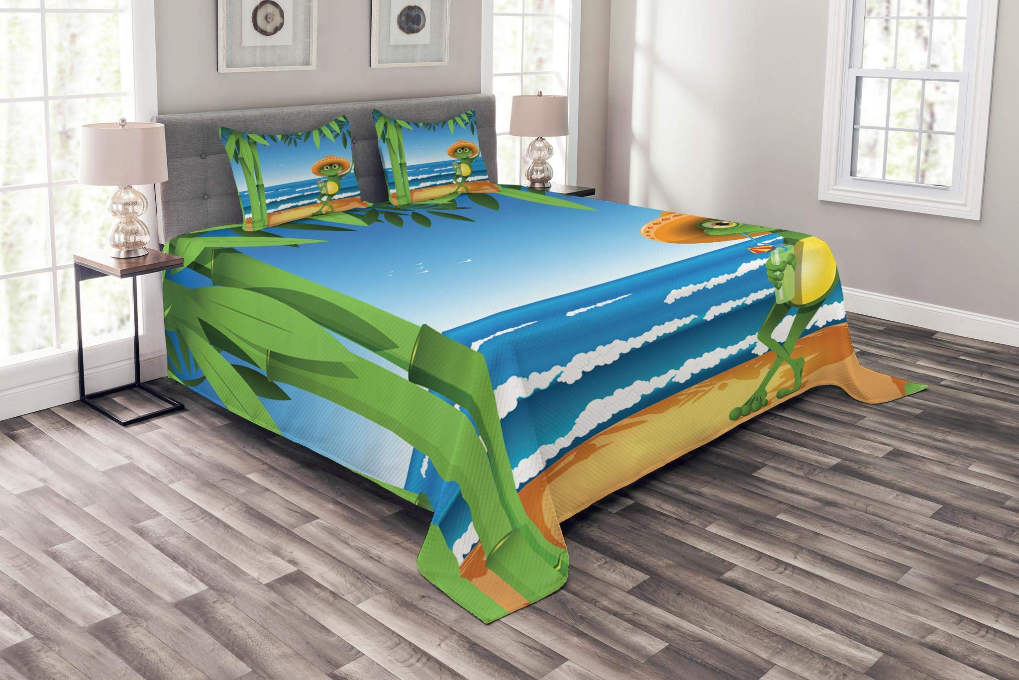 Lunarable Animal Bedspread Set King Size, Illustration of a Frog on Sandy Beach with Palm Trees and Ocean Tropical Print, Decorative Quilted 3 Piece Coverlet Set with 2 Pillow Shams, Green Blue Cream