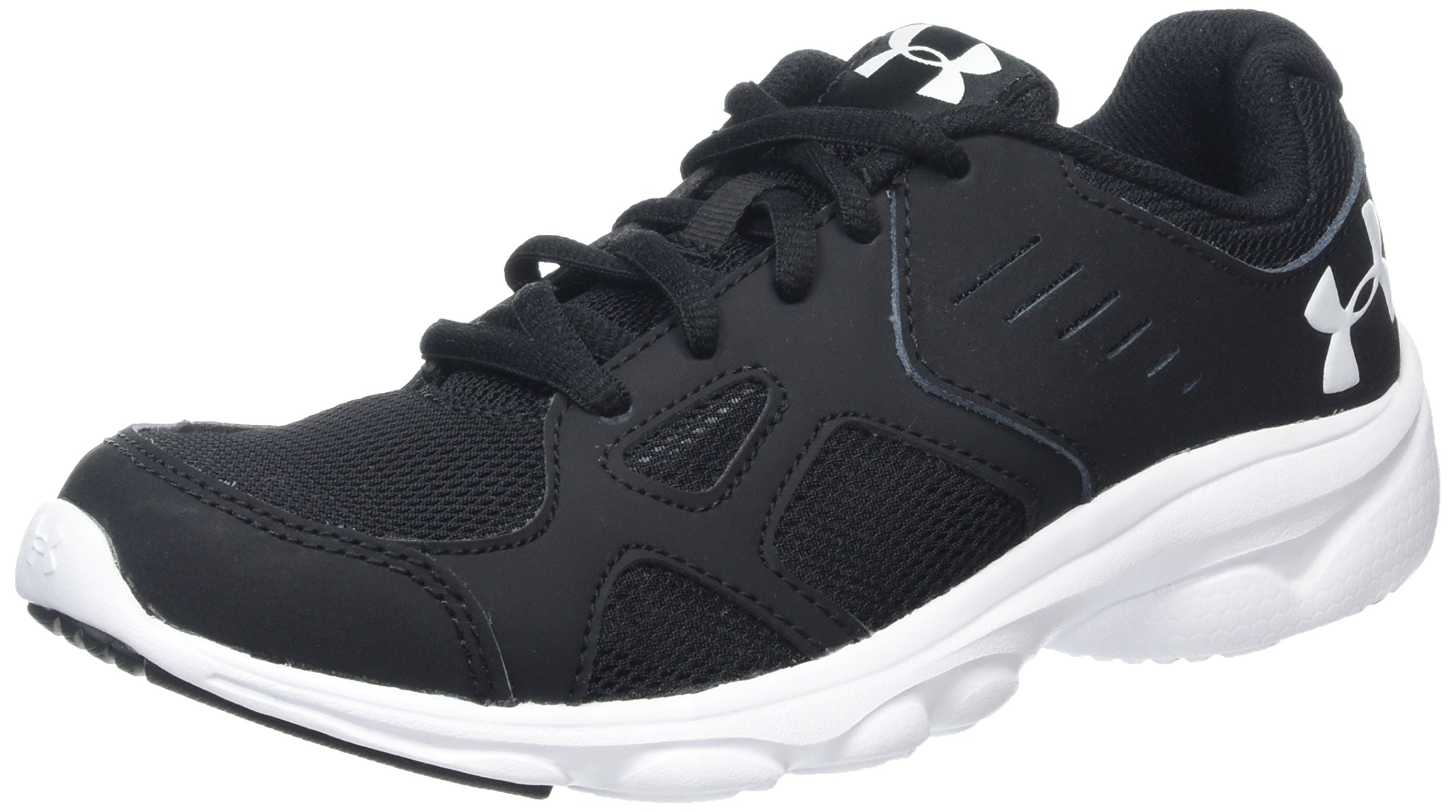 Under Armour Boys' Grade School Pace Sneaker, Black (001)/White, 5