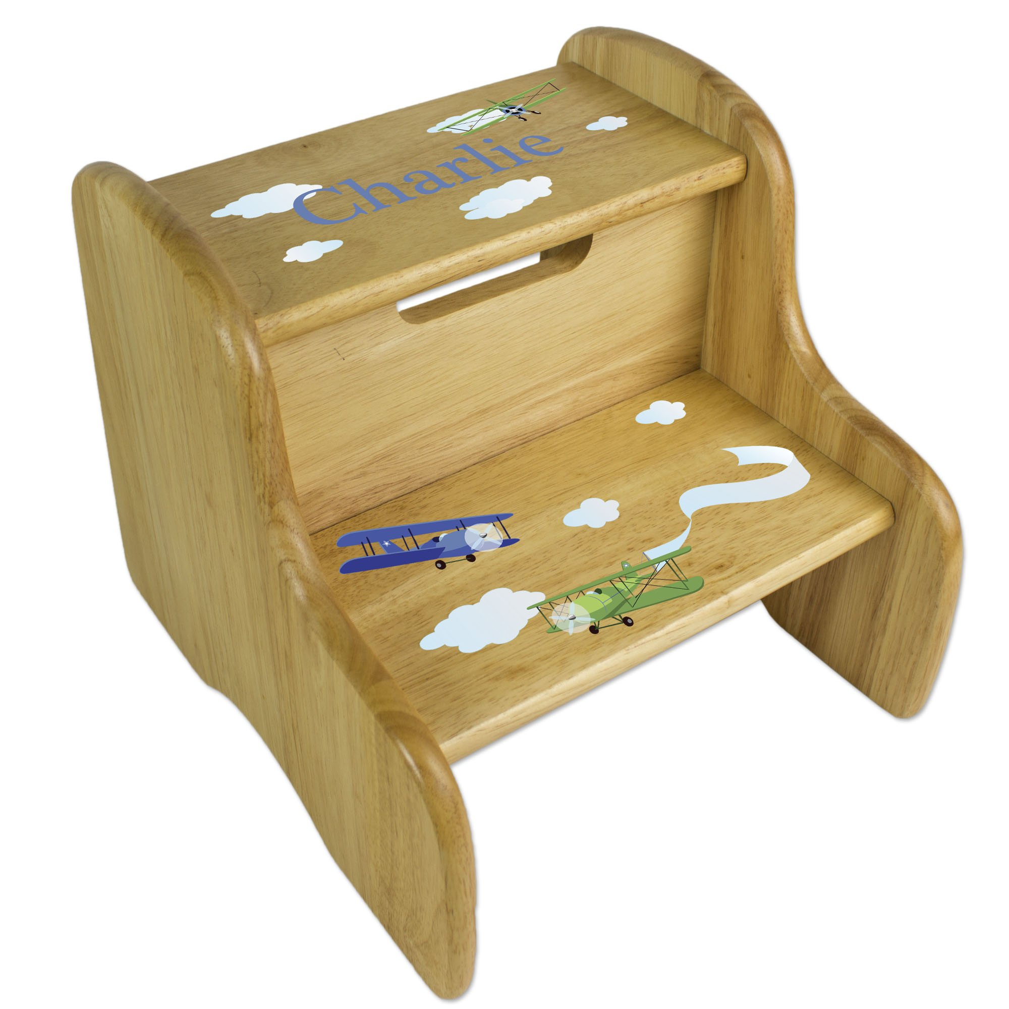 Personalized Boys Airplane Natural Step Stool