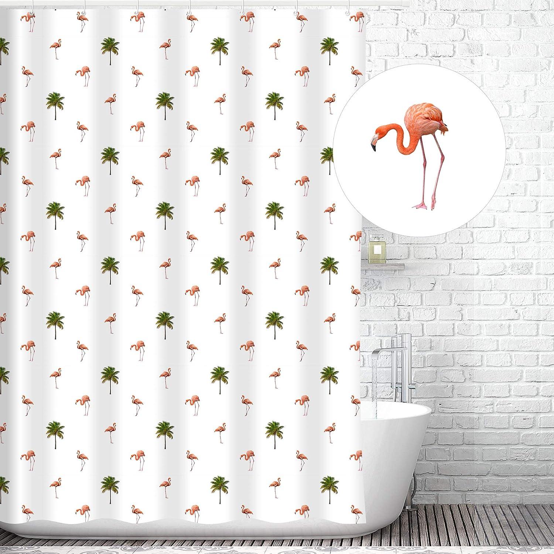 Shower Curtains Rose Flamingo Palm Tree Shower Curtain Liner Hooks Bathroom Decor Waterproof Home Garden Entsrilanka Org