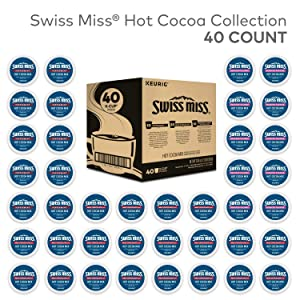 Swiss Miss Milk Chocolate Hot Cocoa Variety Pack, Keurig Single-Serve Hot Chocolate K-Cup Pods, 40 Count