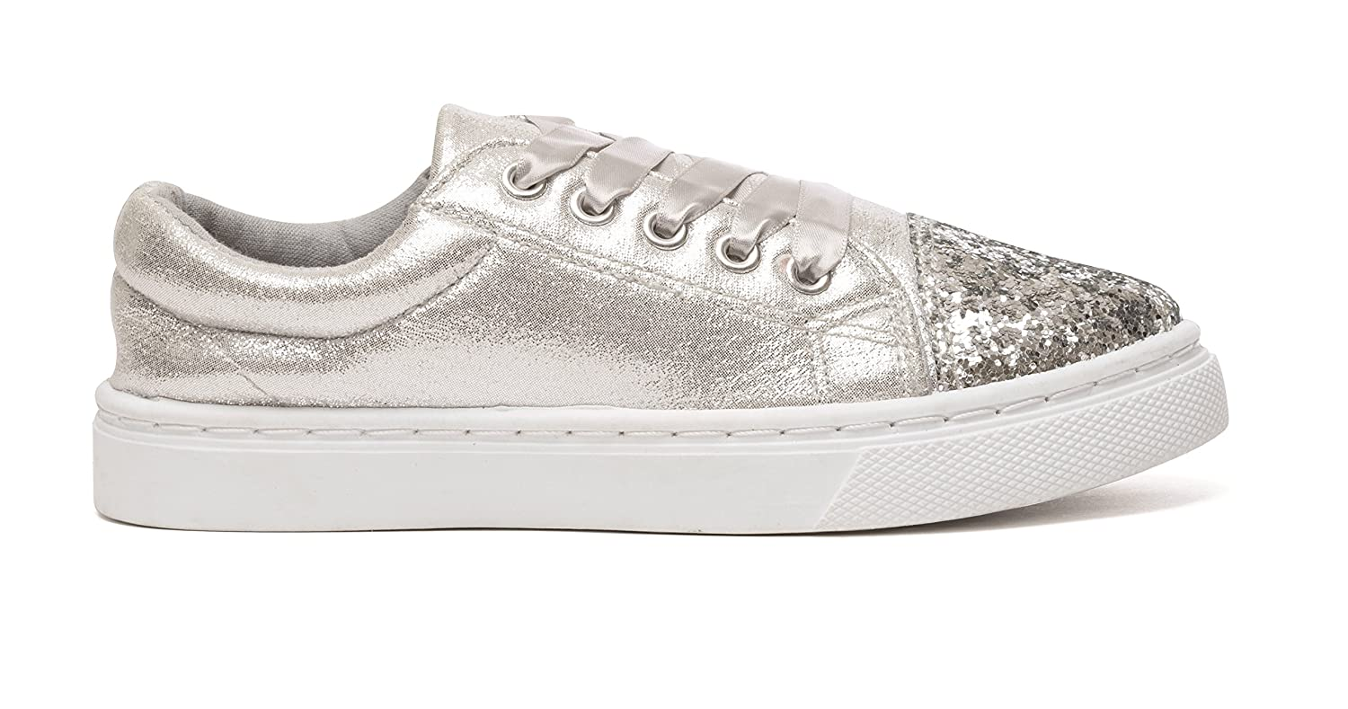 7e502778d29b Chatterbox Girls Glitter Lace Up Trainers Pumps Silver Rose Gold UK Sizes  Child 10 11 12 13 1 2  Amazon.co.uk  Shoes   Bags