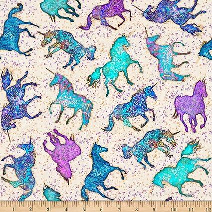 PRINTED Cotton POPLIN Dressmaking Fabric Material UNICORN TURQUOISE