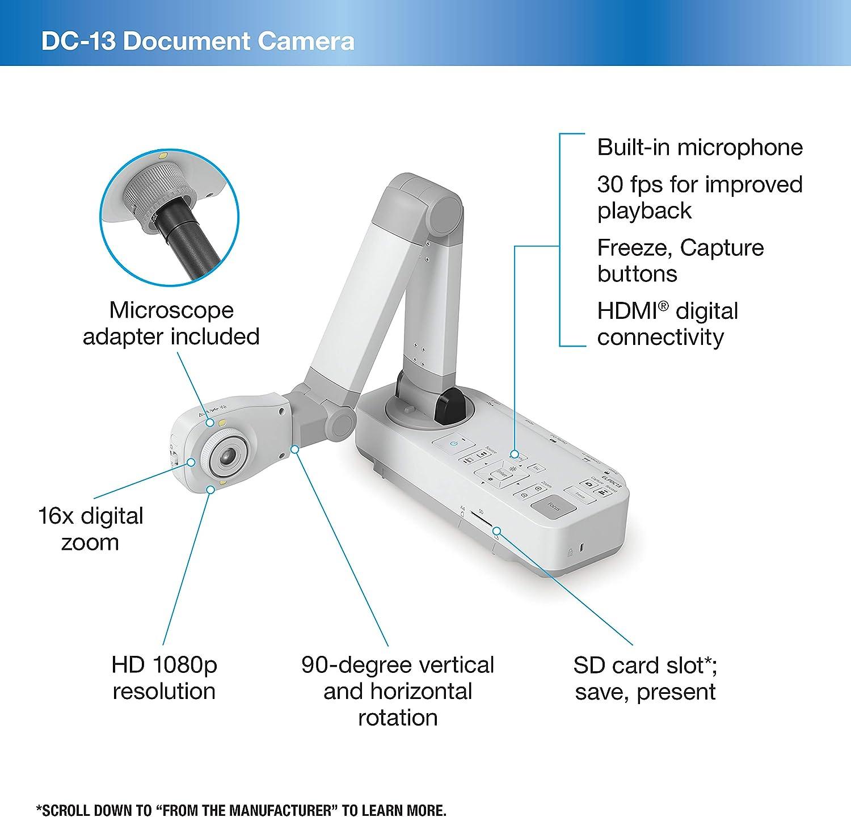 EPSON ELPDC13 A3 DocCam WebCam 16x Zoom HDMI VGA SD-Card Microphone