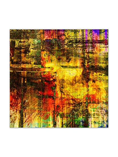 999store Unframed Printed Abstract Grunge Golden With Colorful Blots
