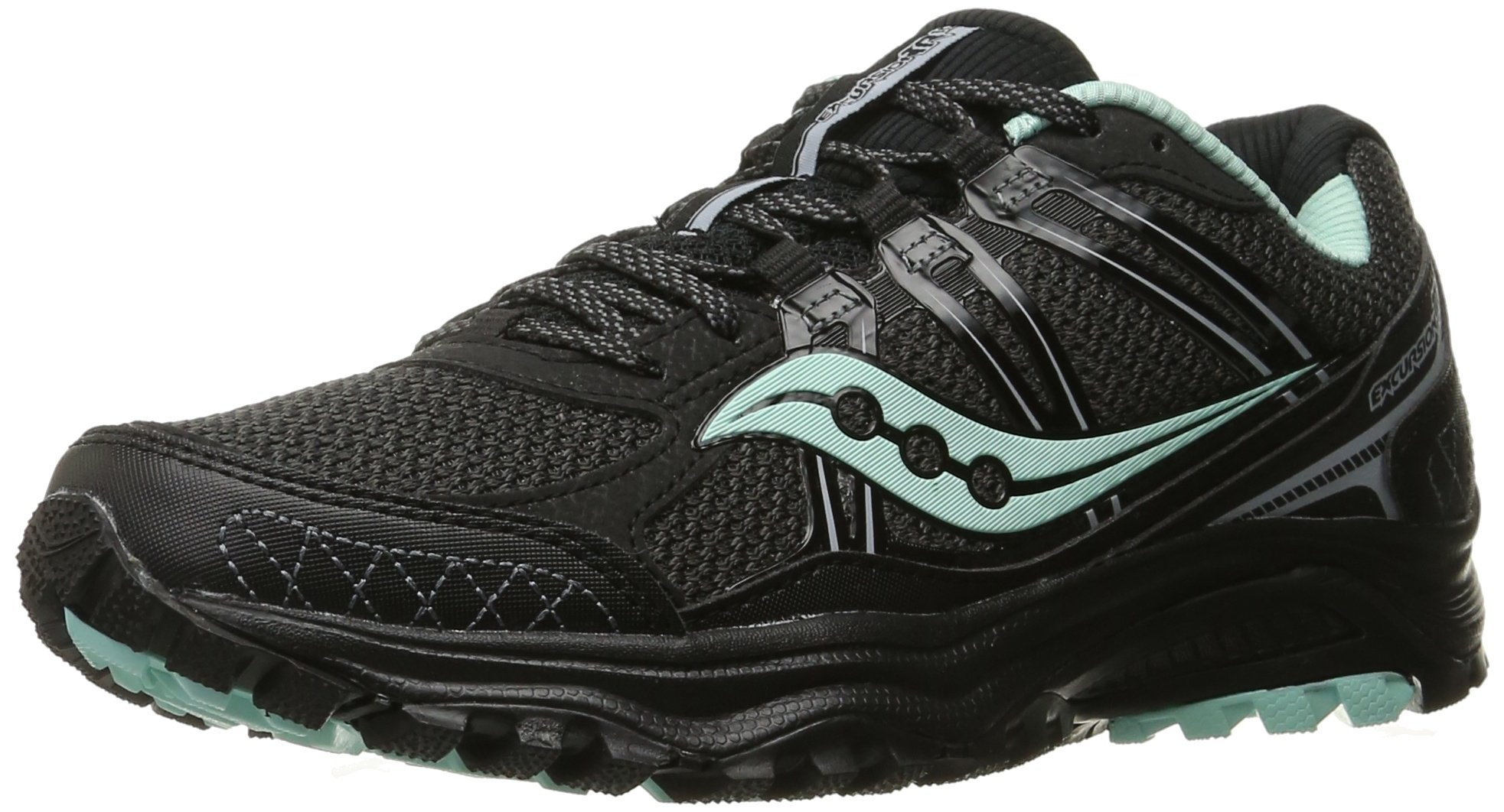 Saucony Women's Grid Excursion Tr10 Trail running Shoe, Black/Mint, 7 M US