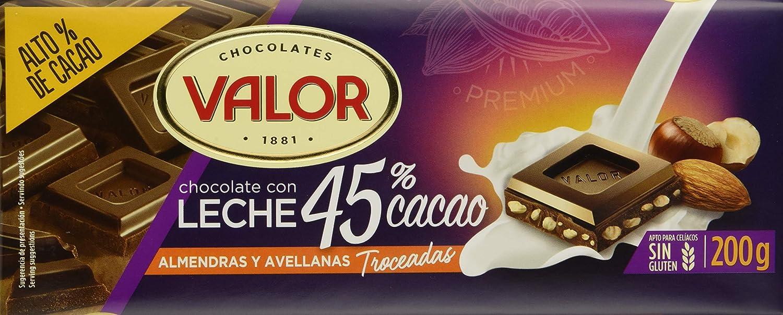 Valor, Chocolate con Leche 45% cacao con almendras y avellanas 200gr - 17 de 200 gr. (Total: 3400 gr.): Amazon.es: Alimentación y bebidas