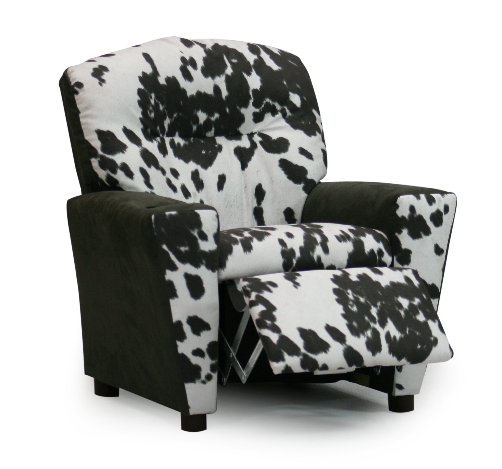 Kid's Recliner Upholstered Armchair with Cup Holder- Santas Favorite Children's Reclining Chair - Two Popular Faux Cowhide Fabric Choices (Charcoal Cowhide) by M Brands