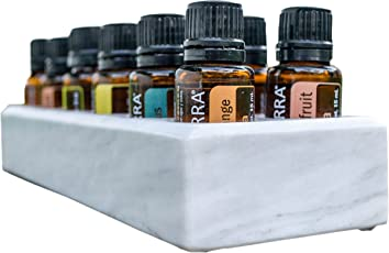 Luxurious Essential Oil Holder Case - 100% Onyx Marble - Free Matching Oil Tray - Holds 12, 15ml Bottles - Storage And Display for Your Oils - Professional Quality And Design (Gray Marble)