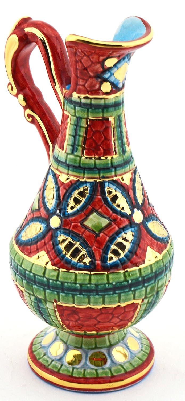 Art Escudellers Jarra Ceramica Pintado a Mano con Oro de 24K, Decorado al Estilo BIZANTINO Rojo. 9cm x 8cm x 17cm: Amazon.es: Hogar