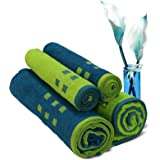 Spaces Atrium 4 Piece 450 GSM Cotton Towel Set - Lime Green and Teal