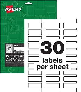 "Avery PermaTrack Destructible Asset Tag Labels, 3/4"" x 2"", 240 Labels (60531)"