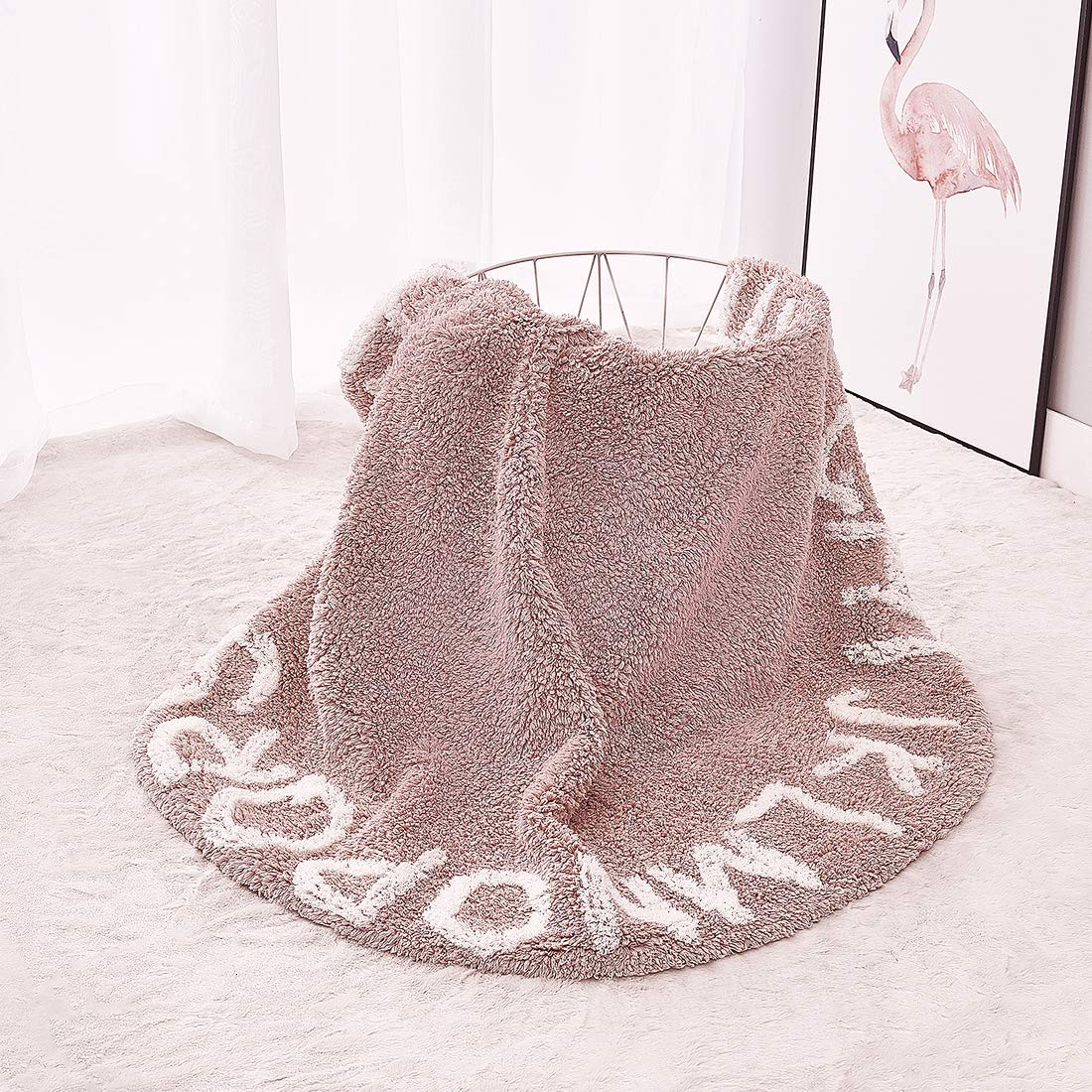 Pink Habudda Super Soft Cotton Luxury Plush Baby Crawling Rugs Kids Play Mat Educational ABC Alphabet Area Rugs Baby Shower Gift Kids Teepee Tent Game Play House Round 1.2 meters 47.24 inch Diameter