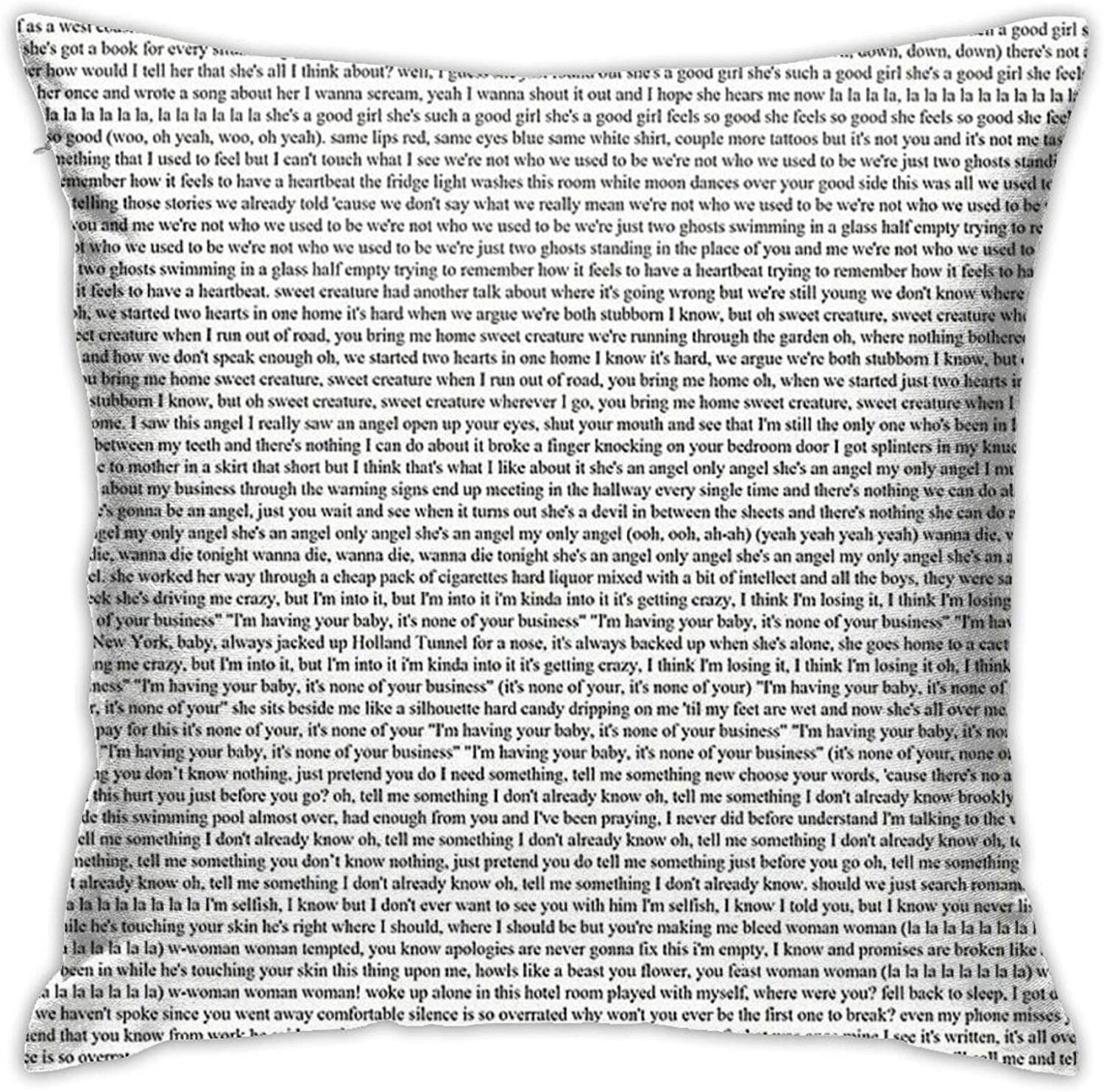 KIILA Every Lyric from Harry Styles Album Home Decorative Throw Pillow Cases Sofa Couch Cushion Throw Pillow Covers 18x18 Inch