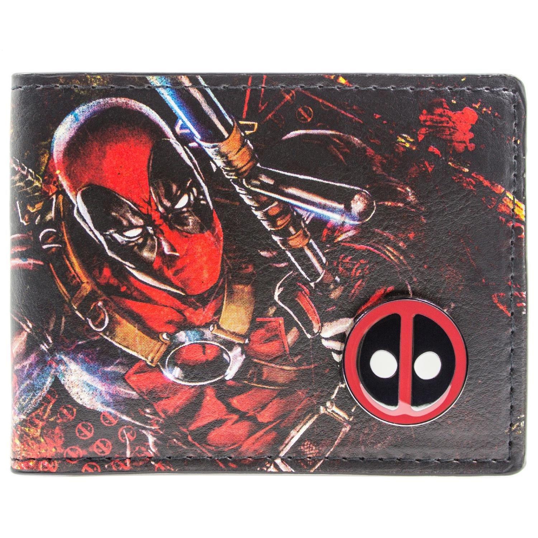 Marvel Deadpool Gedruckte Zeichen mit Abzeichen Mehrfarbig Portemonnaie Geldbörse 27313