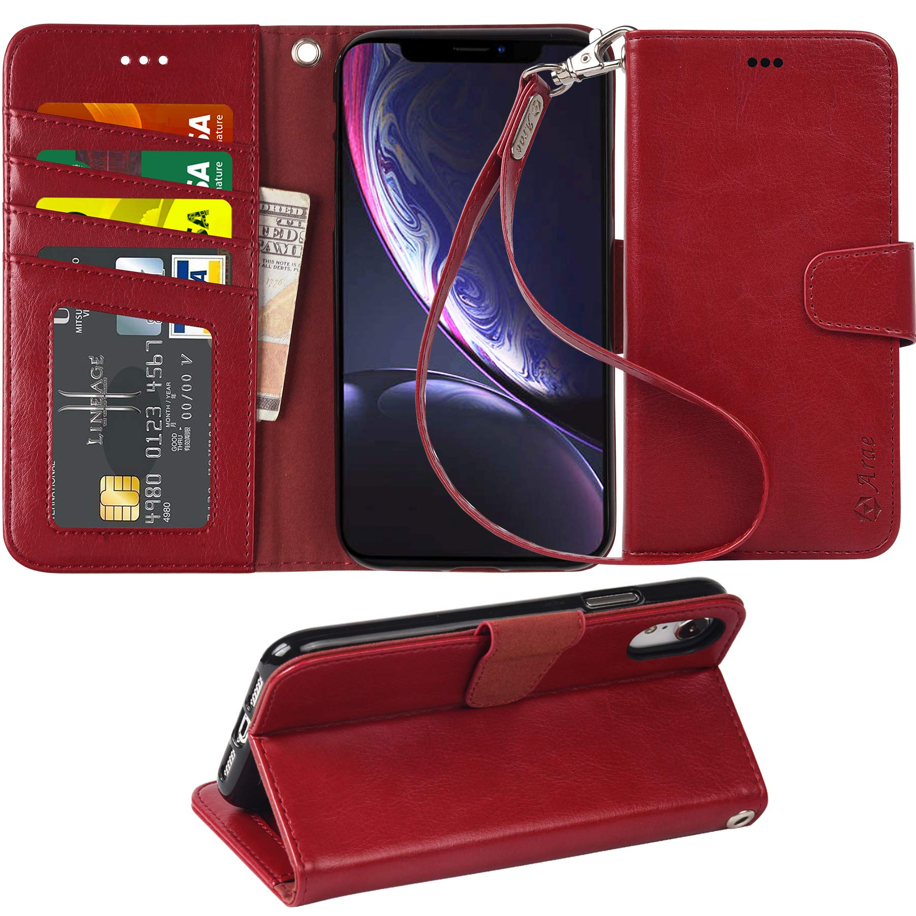 Arae Wallet Case for iPhone xr 2018 PU Leather flip case Cover [Stand Feature] with Wrist Strap and [4-Slots] ID&Credit Cards Pocket for iPhone Xr 6.1 inch (Wine red) by Arae