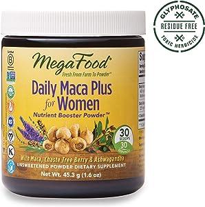 MegaFood, Daily Maca Plus for Women Powder, Helps Maintain Hormonal Balance, Drink Mix Supplement, Gluten Free, Vegan, 1.6 oz (30 Servings) (FFP)