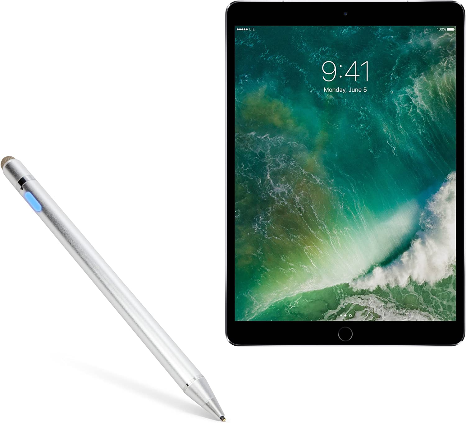 iPad Pro 10.5 (2017) Stylus Pen, BoxWave [AccuPoint Active Stylus] Electronic Stylus with Ultra Fine Tip for Apple iPad Pro 10.5 (2017) - Metallic Silver