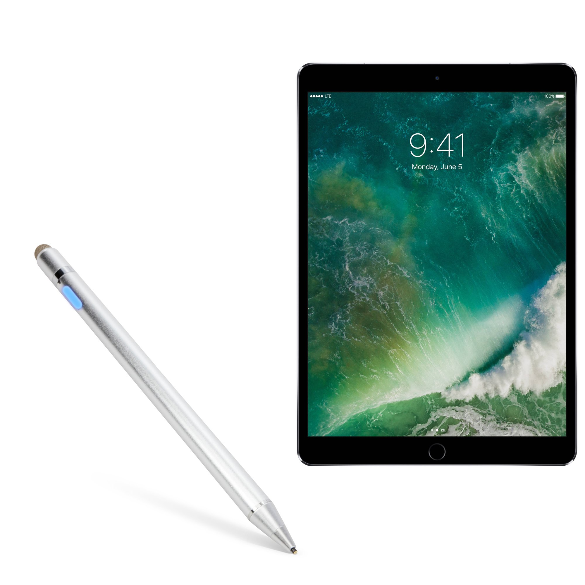 iPad Pro 10.5 (2017) Stylus Pen, BoxWave [AccuPoint Active Stylus] Electronic Stylus with Ultra Fine Tip for Apple iPad Pro 10.5 (2017) - Metallic Silver by BoxWave (Image #1)