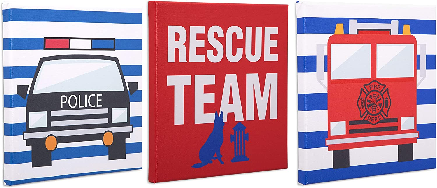 Delta Children 3-Piece Canvas Wall Art Set for Boys, Rescue