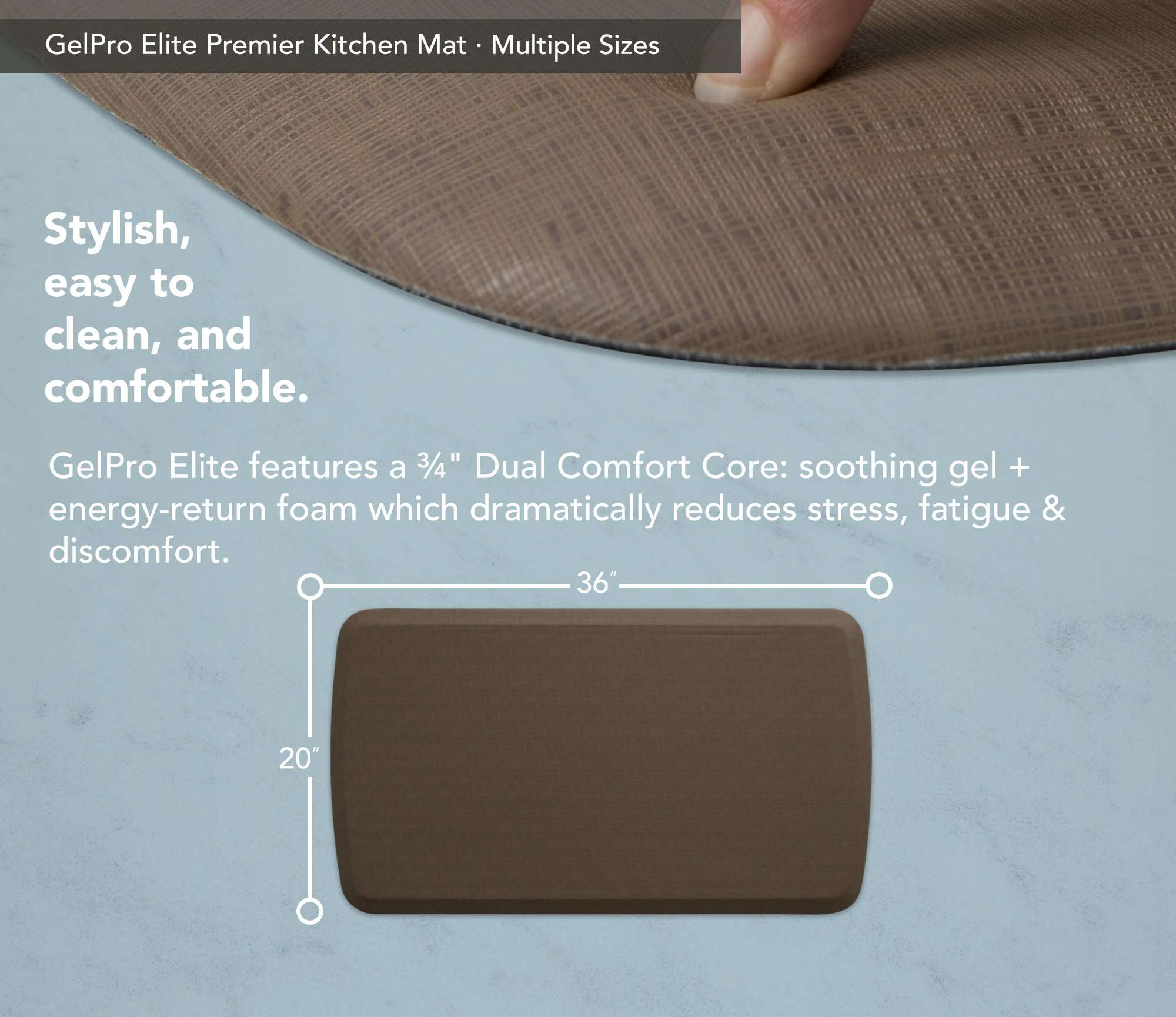 "GelPro Elite Premier Anti-Fatigue Kitchen Comfort Floor Mat, 20x36"", Linen Sandalwood Stain Resistant Surface with therapeutic gel and energy-return foam for health & wellness by GelPro (Image #3)"