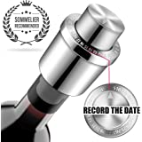 Wine Stoppers, GiniHomer Stainless Steel Vacuum Wine Stoppers with Time Scale Record, Vacuum Beverage Bottle Saver with…
