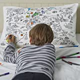 world map cotton pillowcase with pens - colour and learn