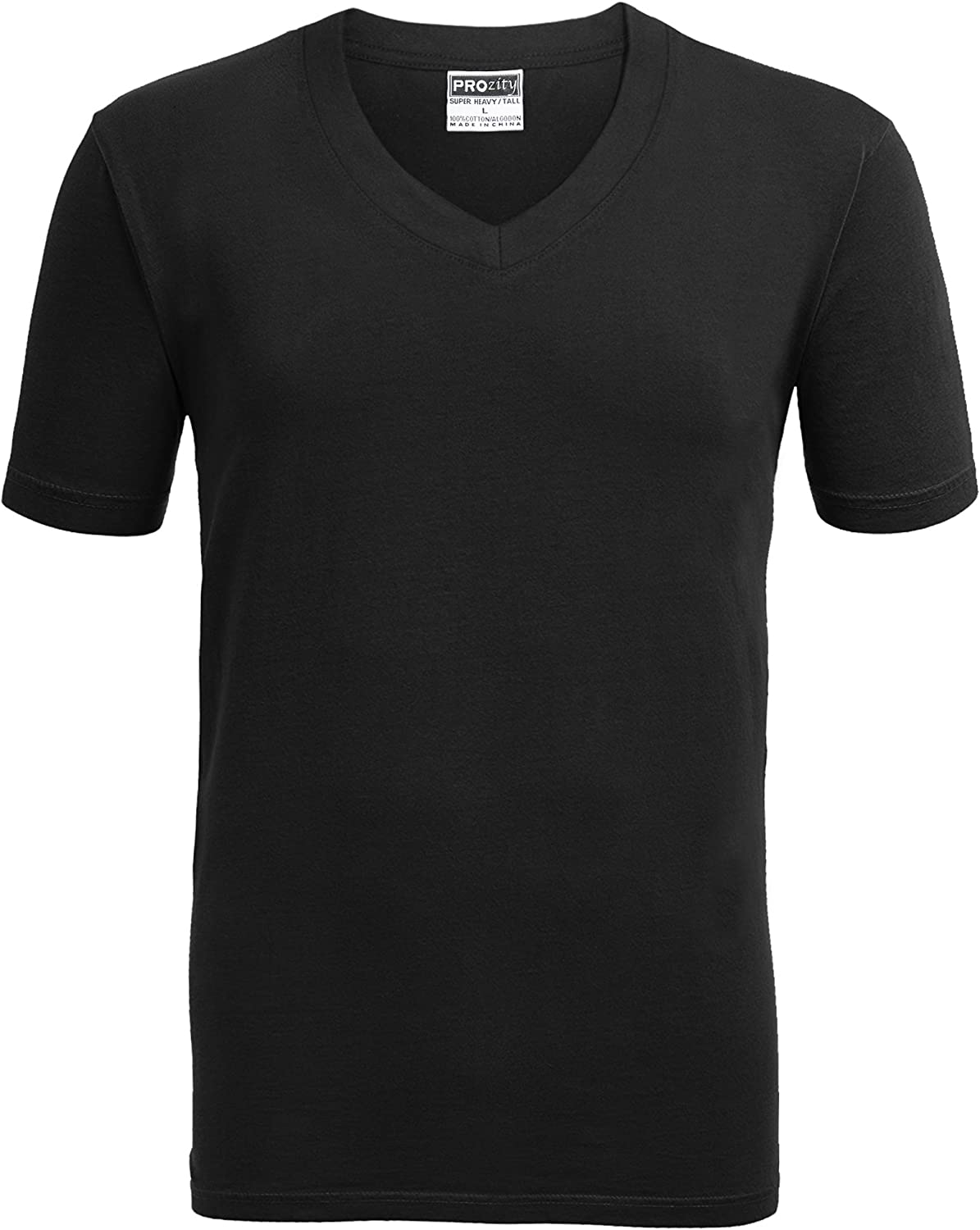 Alipolo Mens Big-Tall Heavyweight V-Neck Short-Sleeve T-Shirt Black XL