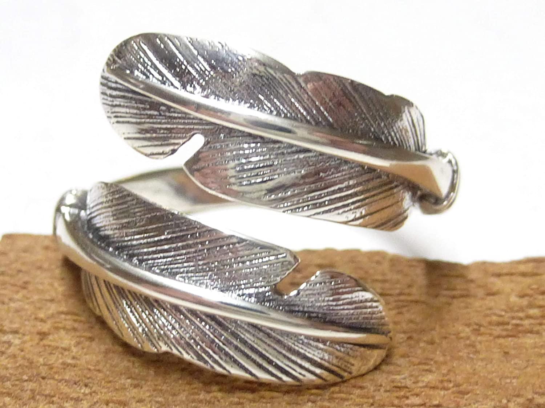 Silberschmuck-BG Bague Ouvert en Plume de mer Indien Bijoux en Argent 925/% Sterling Bague Plume Cadeau Bijoux pour Homme et Femme