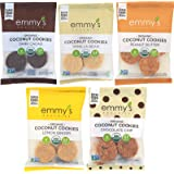 Emmy's Organics Coconut Cookies, Variety Pack (Dark Cacao, Vanilla Bean, Peanut Butter, Lemon Ginger and Chocolate Chip), 2 oz (Pack of 12)