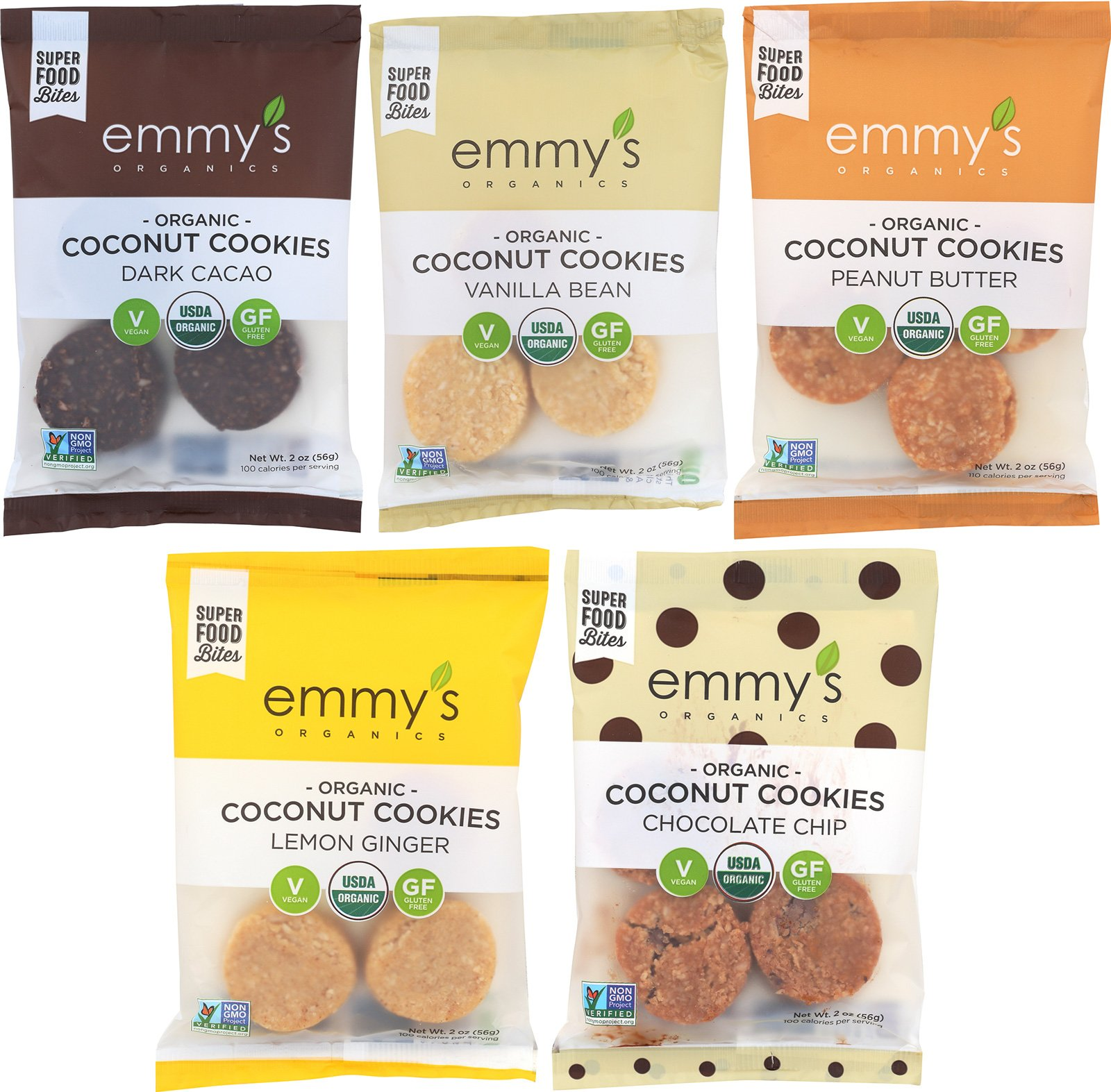 Emmy's Organics Coconut Cookies, Variety Pack (Dark Cacao, Vanilla Bean, Peanut Butter, Lemon Ginger and Chocolate Chip), 2 oz (Pack of 12) by Emmy's