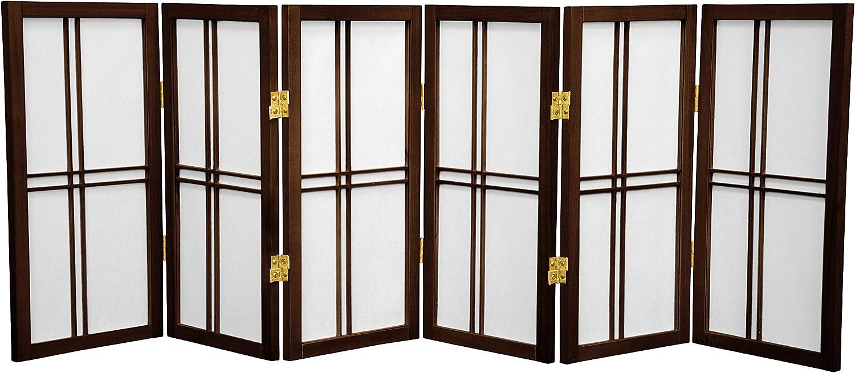 Oriental Furniture 2 ft. Tall Desktop Double Cross Shoji Screen - Walnut - 6 Panels