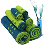 Spaces Atrium 6 Piece 450 GSM Cotton Towel Set - Lime Green and Teal
