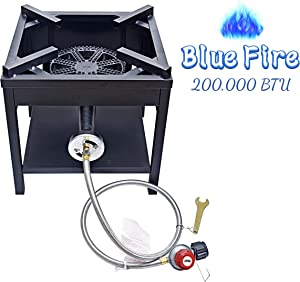 ARC USA, 4242S 200,000 BTU Outdoor High Pressure Cast Iron Propane Gas Cooker, Camping Stove, Adjustable 0-20 PSI CSA Regulator & Hose, Great for Outdoor Cooking and Back Yard, NO Assembly Required