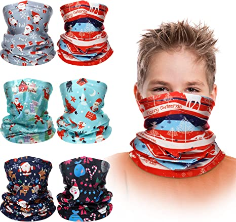 adakel 6Pcs Kids Neck Gaiter Bandana Scarf UV Protection Face Neck Cover for Cycling Hiking Sport Outdoor for Boys Girls Kids