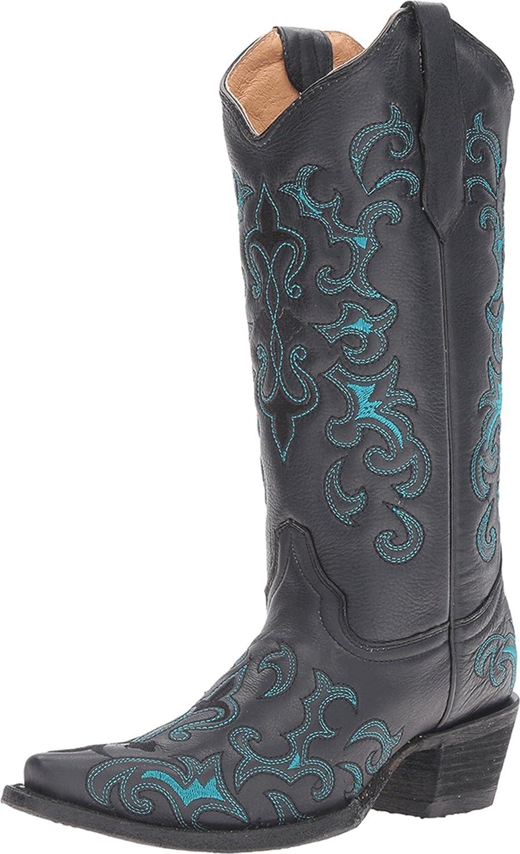 f4449b94ae7 Details about Corral Circle G Women's Black/Turquoise Fleur-De-Lis  Embroidered Cowboy Boots