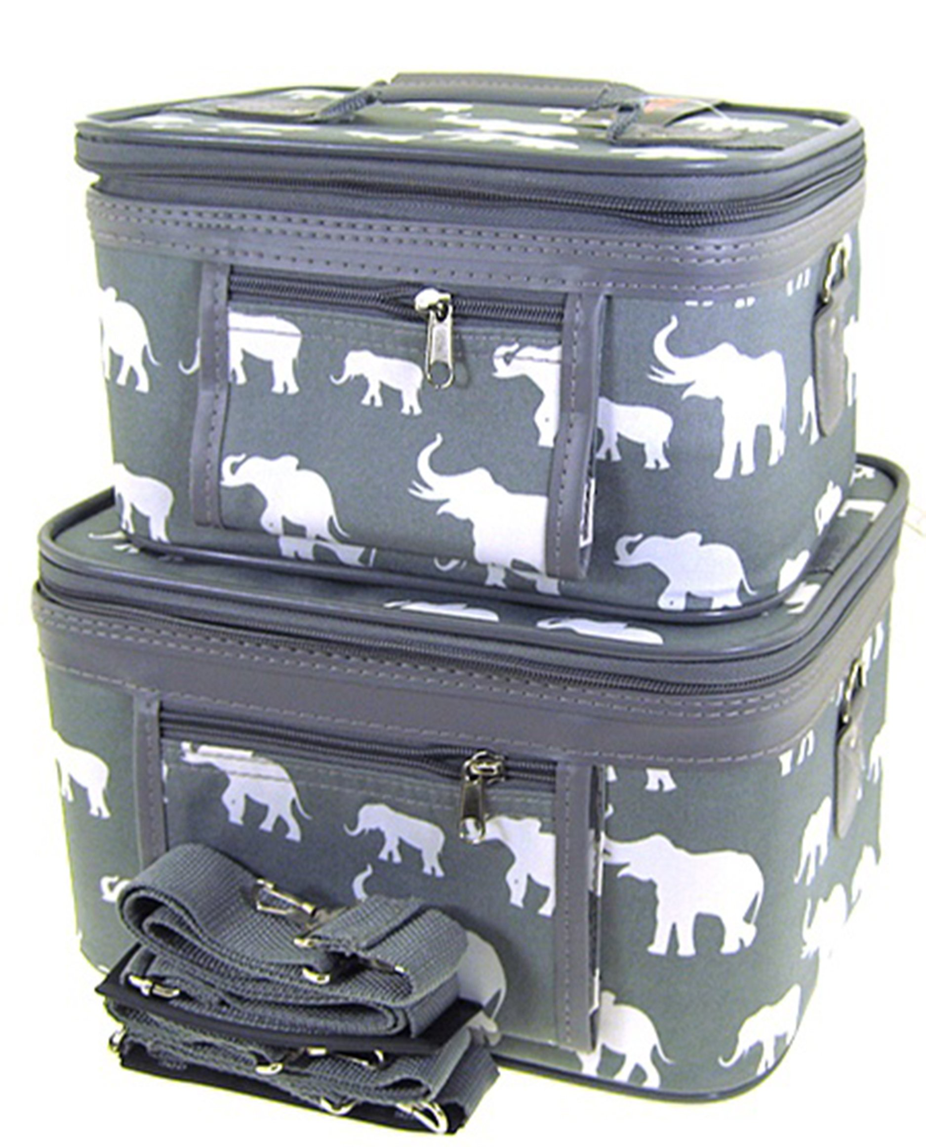Elephant Print 2 Piece Train Case Cosmetic Set Travel Toiletry Luggage (Grey)