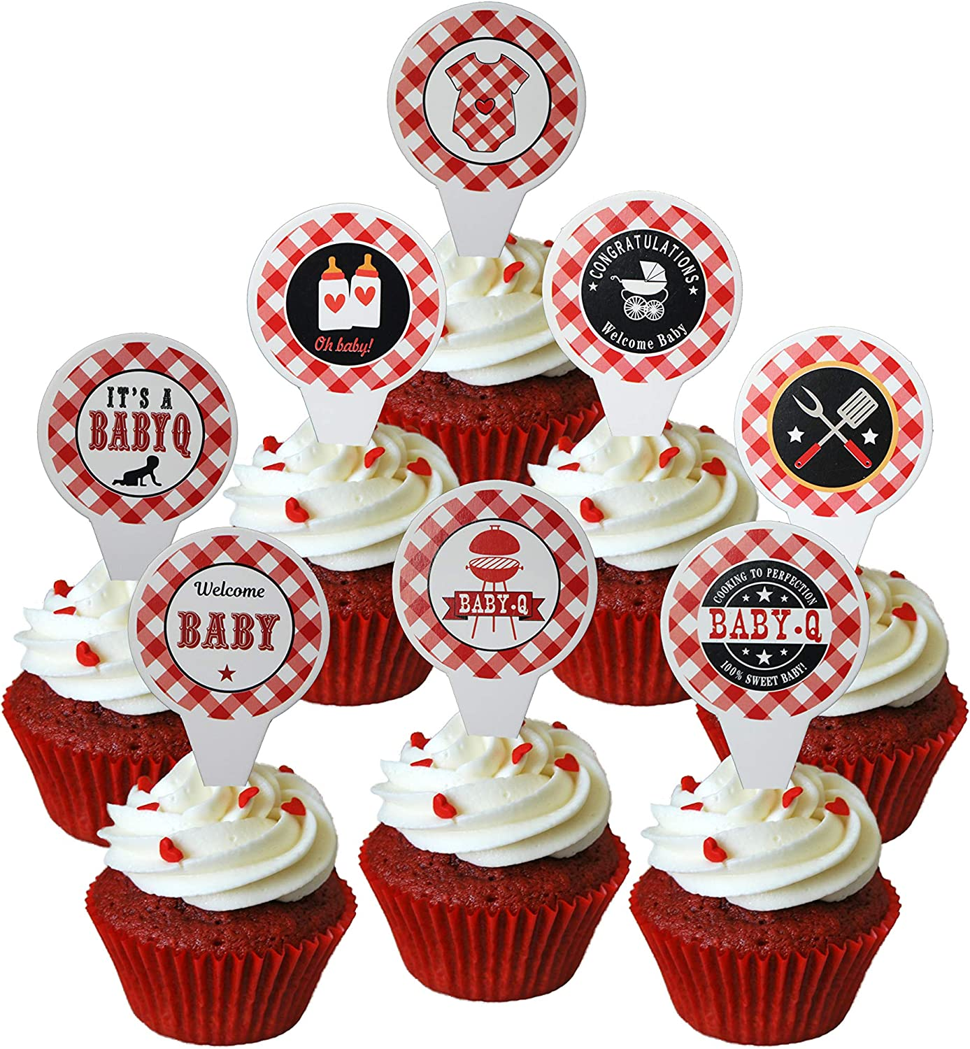 40 Pieces Baby Q Cupcake Topper BBQ Baby Shower Birthday Party Supplies Picnic Party Cake Topper for Summer Barbecue Picnic Baby Shower Birthday Party Decorations