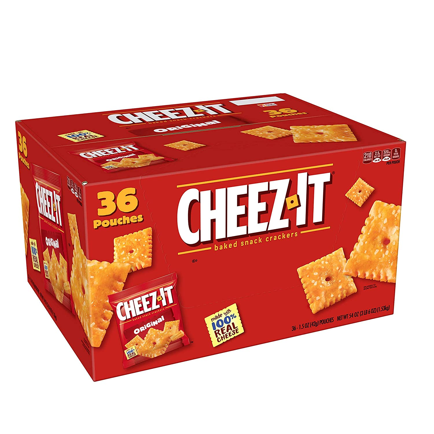 Cheez-It Original Cheese Crackers - School Lunch Food, Baked Snack, Single Serve,1.5 Ounce bag (36 Count)