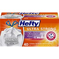 Hefty Ultra Strong Tall Kitchen Trash Bags, Lavender & Sweet Vanilla Scent, 13 Gallon, 40 Count