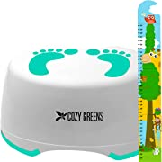 Step Stool for Children | Anti-Slip Top and Bottom | Easy Hygienic Cleaning | FREE Potty Training eBook | Perfect height for Toddler Toilet Training or Kids Bathroom and Kitchen (green)