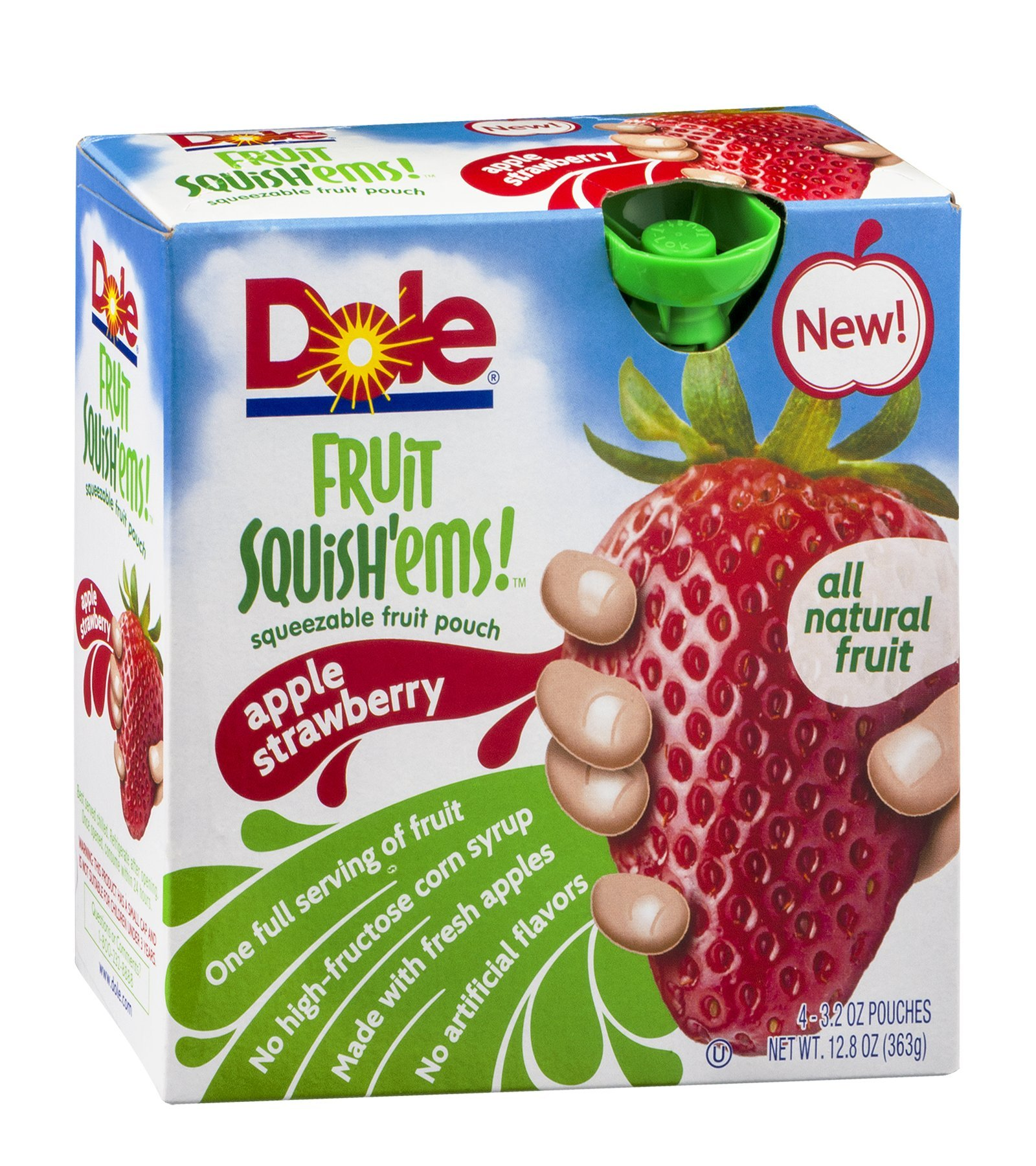 Dole Fruit Squish'ems! Squeezable Fruit Pouch Apple Strawberry 12.8 OZ (Pack of 24) by Dole