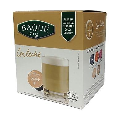 Cafés Baqué - 10 Capsulas Compatibles Dolce Gusto. Con Leche, pack de 4