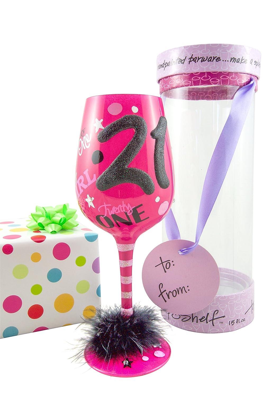 Amazon.com | Top Shelf 21st Birthday Wine Glass with Charm - Novelty ...