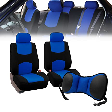 FH-FB050102, Fit Most Car, Truck, Suv, or Van FH Group Universal Fit Flat Cloth Pair Bucket Seat Cover Blue//Black