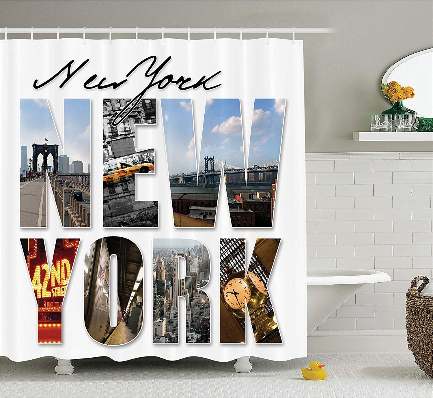 werert NYC Decor Decor Decor Shower Curtain Set, New York City Themed Collage Featuring with Different Areas of The Big Apple Manhattan Scenery, Bathroom Accessories,Multi 60 X 72 bc9888