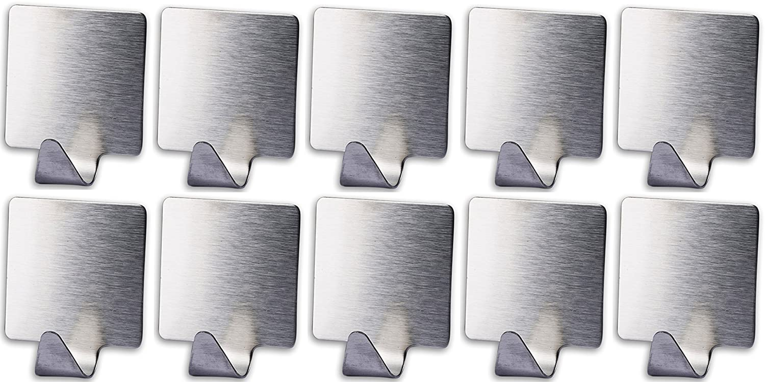 10-Pack Stainless Steel Hooks, Self Adhesive Decorative Brushed Stainless Steel Wall Hook Hanger Holder, Great for Bathroom, Shower room, Laundry Room, Bedroom, and Living room.